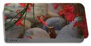 Scarlet Bugler Blossoms On Rocks Portable Battery Charger