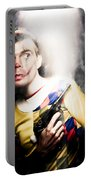 Scary Clown Standing In Shadows With Smoking Gun Portable Battery Charger