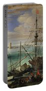 Scene Of A Sea Port Portable Battery Charger by Paul Bril