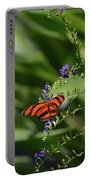 Scenic View Of An Orange Oak Tiger Butterfly Portable Battery Charger