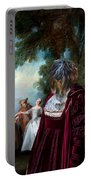 Schapendoes Art Canvas Print - Dance Before A Fountain Portable Battery Charger