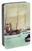 Schooners At Anchor In Key West Portable Battery Charger by Winslow Homer