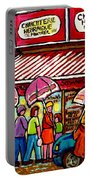 Schwartz's Deli Rainy Day Line-up Umbrella Paintings Montreal Memories April Showers Carole Spandau  Portable Battery Charger