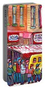 Schwartz's Smoked Meat Deli On The Main Montreal Hockey Art Scenes School Bus Painting C Spandau Art Portable Battery Charger