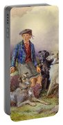 Scottish Boy With Wolfhounds In A Highland Landscape Portable Battery Charger by James Jnr Hardy