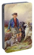 Scottish Boy With Wolfhounds In A Highland Landscape Portable Battery Charger