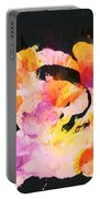Scrambled Sunrise 2017 - Pink And Orange On Black Portable Battery Charger