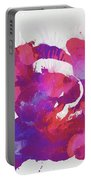 Scrambled Sunrise 2017 - Pink And Purple On White Portable Battery Charger