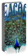 Scroll Swirl Art Deco Nouveau Peacock W Tail Feathers Spread Portable Battery Charger