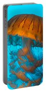 Sea Nettle Jellyfish - Orange And Turquoise Portable Battery Charger