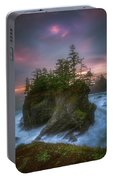 Sea Stack With Trees Of Oregon Coast Portable Battery Charger