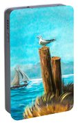 Seagull At Port Entrance Portable Battery Charger