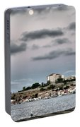 Seagull Under The Moon Light Of Mediterranean Sea Portable Battery Charger