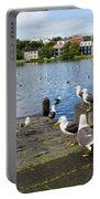 seagulls near a pond in the center of Reykjavik Portable Battery Charger