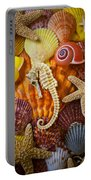 Seahorse And Assorted Sea Shells Portable Battery Charger