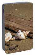 Seashells And Sea Wood  On The Beach Portable Battery Charger
