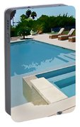 Seaside Swimming Pool As A Silk Screen Image Portable Battery Charger