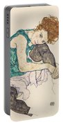 Seated Woman With Bent Knee Portable Battery Charger by Egon Schiele