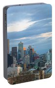 Seattle City Skyline At Dusk Panorama Portable Battery Charger