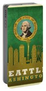 Seattle City Skyline State Flag Of Washington Art Poster Series 017 Portable Battery Charger