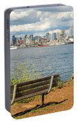 Seattle City Skyline View From Alki Beach Portable Battery Charger