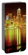 Seattle Panorama Reflection In Elliot Bay Portable Battery Charger by Tim Rayburn
