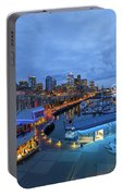 Seattle Skyline From The Waterfront At Blue Hour Portable Battery Charger