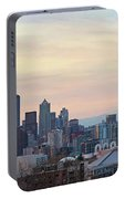 Seattle Skyline With Mount Rainier During Sunrise Panorama Portable Battery Charger