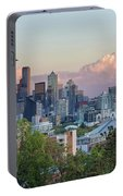 Seattle Washington City Skyline At Sunset Portable Battery Charger