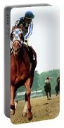 Secretariat Winning The Belmont Stakes, Jockey Ron Turcotte Looking Back, 1973 Portable Battery Charger