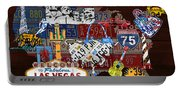 See The Usa Vintage Travel Map Recycled License Plate Art Of American Landmarks Portable Battery Charger