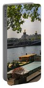 Seine Barges In Paris In Spring Portable Battery Charger