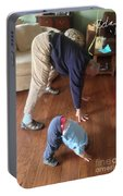 Self Portrait 8 - Downward Dog With Grandson Max On His 2nd Birthday Portable Battery Charger