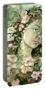 Self Portrait With Aplle Flowers Portable Battery Charger