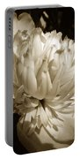 Sepia Peony Flower Art Portable Battery Charger