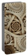 Sepia Swirls Fractal Art Portable Battery Charger