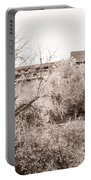 Sepia-toned Blooming Almond Trees Of Fikardou Village 1 Portable Battery Charger