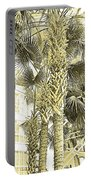 Sepia Toned Pen And Ink Palm Trees Portable Battery Charger