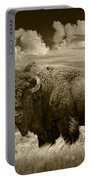 Sepia Toned Photograph Of An American Buffalo Portable Battery Charger