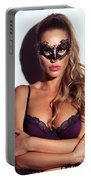 Sexy Glamorous Woman Wearing A Mask Portable Battery Charger