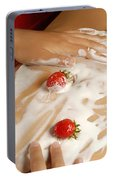 Sexy Nude Woman Body Covered With Cream And Strawberries Portable Battery Charger