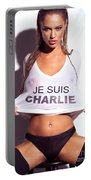 Sexy Young Woman In Wet Je Suis Charlie Shirt Charlie Riina Portable Battery Charger