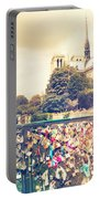 Shabby Chic Love Locks Near Notre Dame Paris Portable Battery Charger