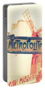 Shabby Chic Moulin Rouge Metro Sign Paris Portable Battery Charger