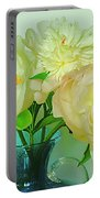 Beautiful Peony Flowers  In Blue Vase. Portable Battery Charger