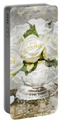 Shabby White Roses With Gold Glitter Portable Battery Charger