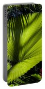 Shadow On A Ruffled Fan Palm Portable Battery Charger