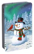 Sharing The Wonder - Christmas Snowman And Birds Portable Battery Charger by Crista Forest