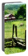 Sheep Grazing In Pasture Portable Battery Charger