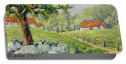 Sheep Huddled Under The Tree Farm Scene Portable Battery Charger